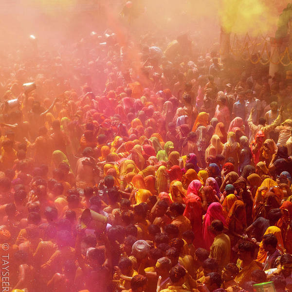 Hindu Photograph - People Playing Holi by Tayseer Al-hamad