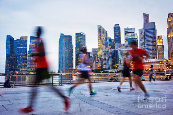 Runner Wall Art - Photograph - People Runing In The Evening In by Joyfull