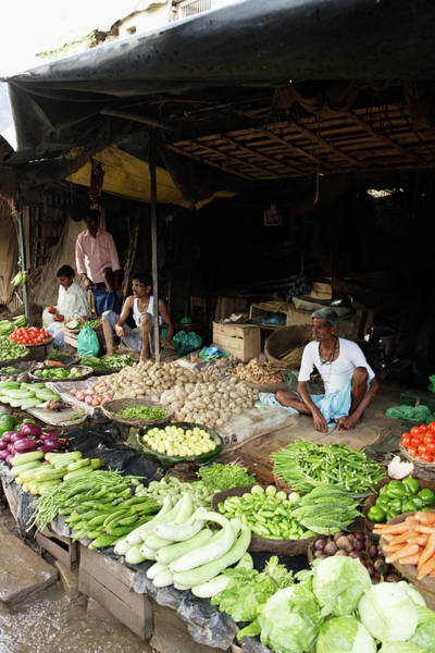 New Market Photograph - People Selling Vegetables In A Street by Asia Images