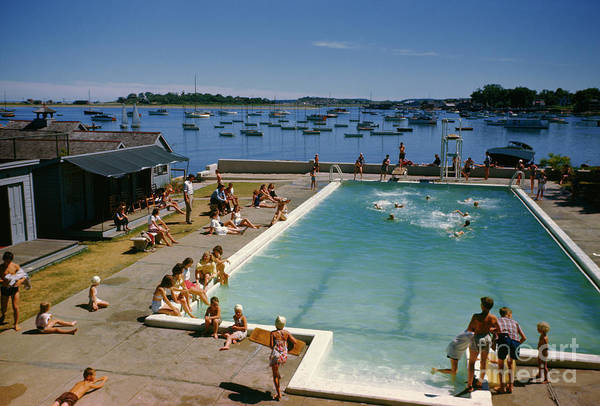 Photograph - People Swim In Pool At Scituate Yacht Club Overlooking Harbor. by Robert Sisson