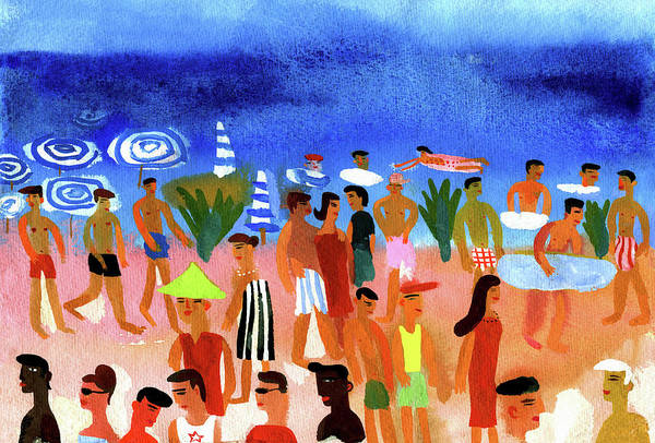 Lifestyles Digital Art - People Walking On Beach And Swimming In by Christopher Corr