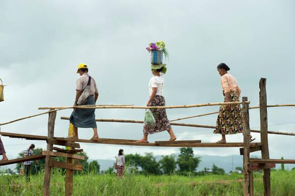 People Walking Photograph - People Walking On Bridge, Inle Lake by Cultura Rm Exclusive/yellowdog