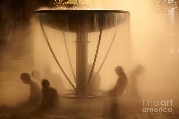 Wall Art - Photograph - Peoples Sitting In Fountain In Aqua Park by Maksym Gorpenyuk