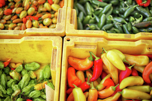Wall Art - Photograph - Peppers Capsicum And Tomatoes At by Nicole Kucera