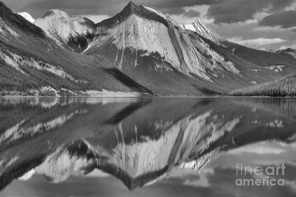 Photograph - Perfect Afternoon Reflections At Medicine Lake Black And White by Adam Jewell