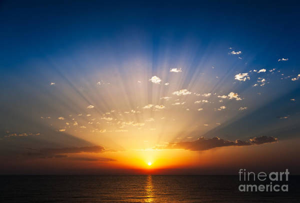 Coloured Wall Art - Photograph - Perfect Sunrise On The Sea, With by Roberto Caucino