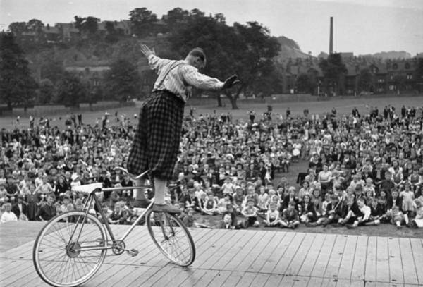 Humor In Art And Photograph - Performing Clown by Kurt Hutton