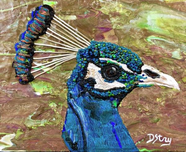 Mixed Media - Perky Peacock by Deborah Stanley