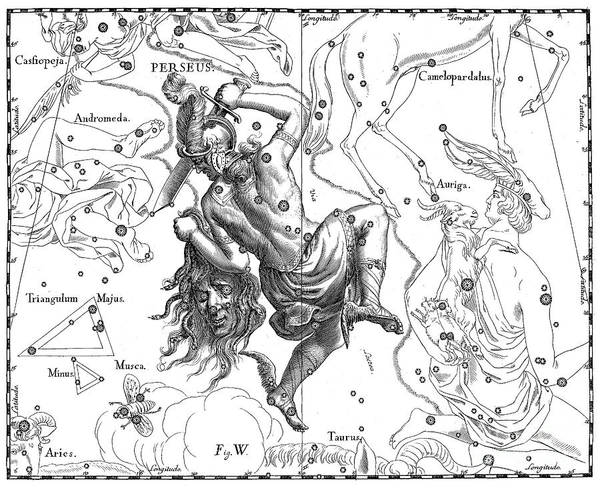 Wall Art - Drawing - Perseus, The Boreal Constellation Of The Hero by Johann Hevelius