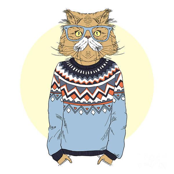 Cartoon Character Wall Art - Digital Art - Persian Cat  Dressed Up In Jacquard by Olga angelloz