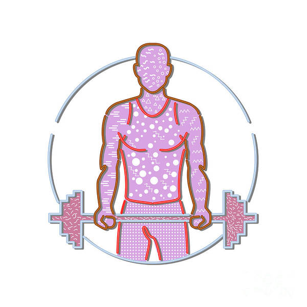 Wall Art - Digital Art - Personal Trainer Lifting Barbell Memphis Style by Aloysius Patrimonio