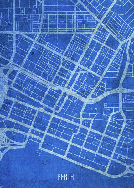 Wall Art - Mixed Media - Perth Australia City Street Map Blueprints by Design Turnpike