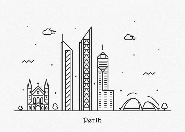 Wall Art - Drawing - Perth Cityscape Travel Poster by Inspirowl Design