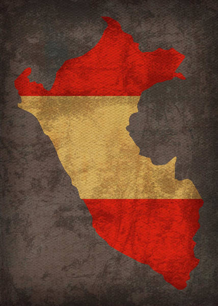 Peru Mixed Media - Peru Country Flag Map by Design Turnpike