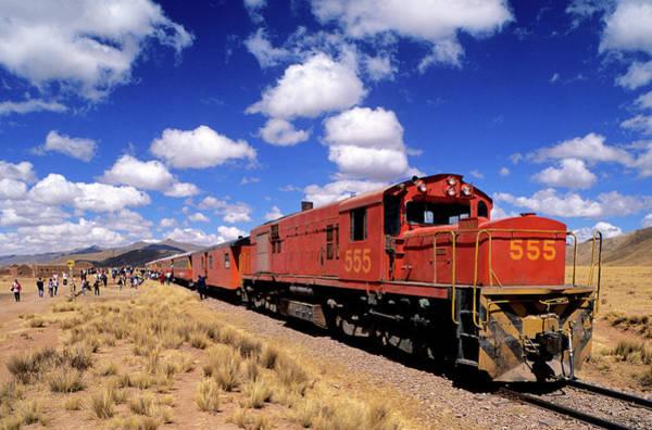 Puno Photograph - Peru, Puno Department, Altiplano, Train by Gardel Bertrand / Hemis.fr