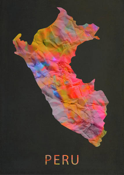 Peru Map Mixed Media - Peru Tie Dye Country Map by Design Turnpike