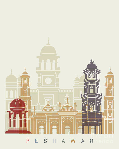 Wall Art - Painting - Peshawar Skyline Poster  by Pablo Romero