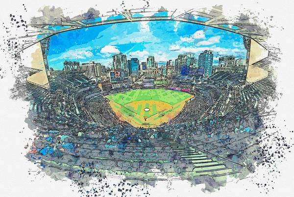 Wall Art - Painting - Petco Park, San Diego, United States Watercolor By Ahmet Asar by Ahmet Asar