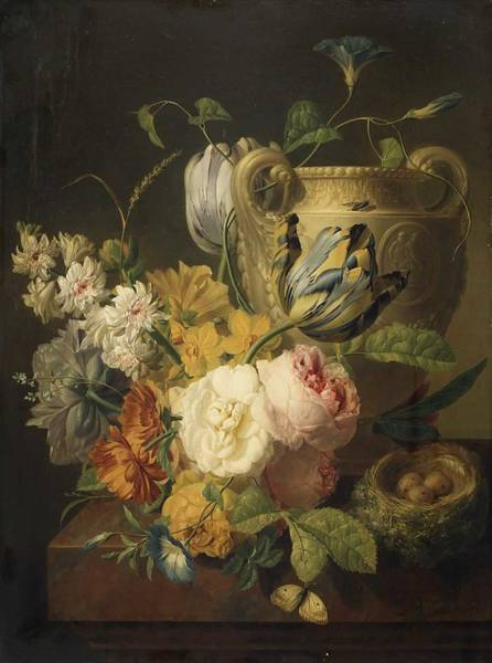Wall Art - Painting - Peter Faes 1750-1814 , Still Life, Flowers, Fruits by Peter Faes