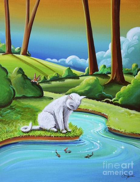 Rabbit Painting - Peter Sees A Cat by Cindy Thornton