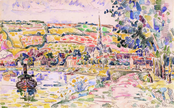 Wall Art - Painting - Petit Andely-the River Bank - Digital Remastered Edition by Paul Signac