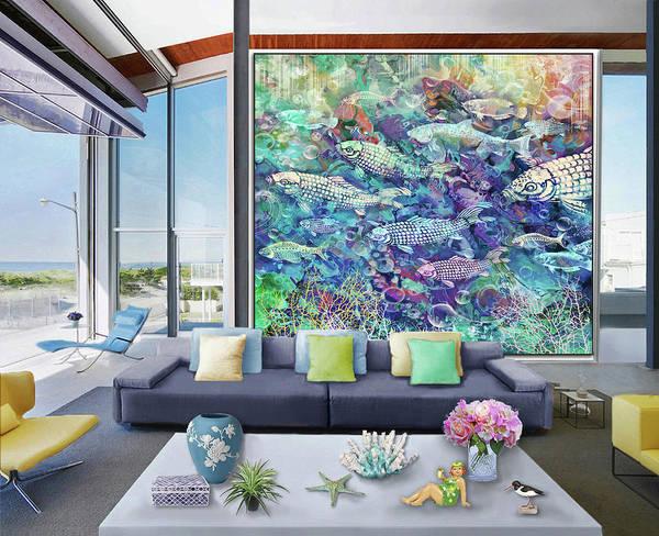 Wall Art - Digital Art - Petit  Aquarium - Artwork In Situ by Grace Iradian