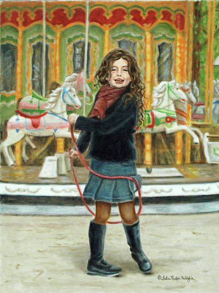 Skip Rope Painting - Petite Gamine by Leslie Ficcaglia