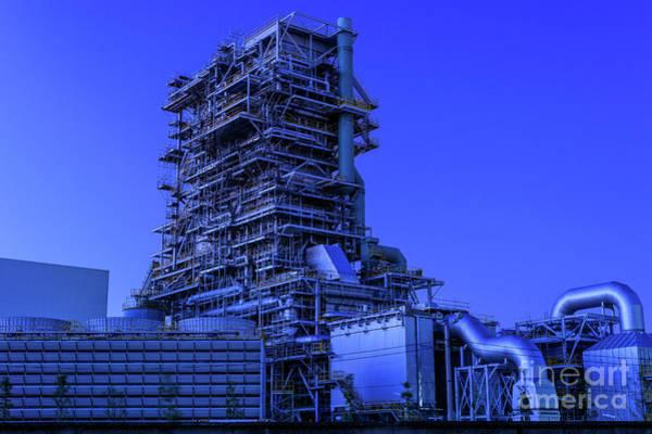 Wall Art - Photograph - Petroleum Plant At Evening by Hirohide Nakahashi