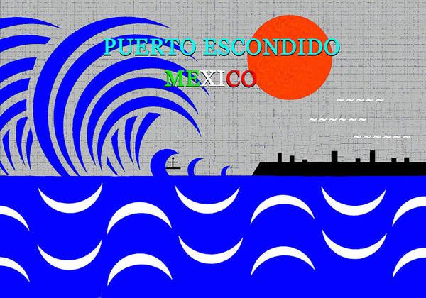 Wall Art - Digital Art - Peurto Escondido Mexico Surfing by David Lee Thompson