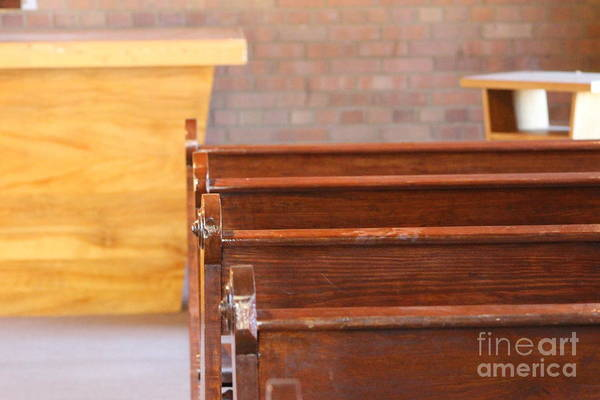 Photograph - Pews In Old Stonework Church At Fort Stanton New Mexico by Colleen Cornelius