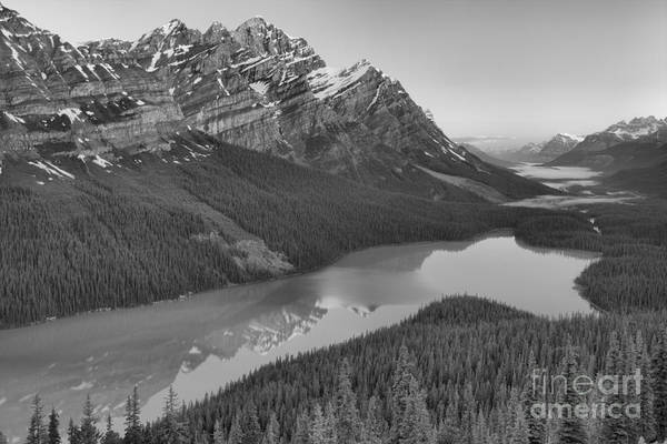 Photograph - Peyto Lake Red Sunrise Peaks Black And White by Adam Jewell