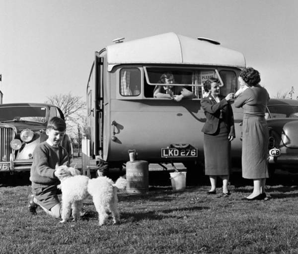 Poodle Photograph - Pf People. England. 1957. A Family On by Popperfoto