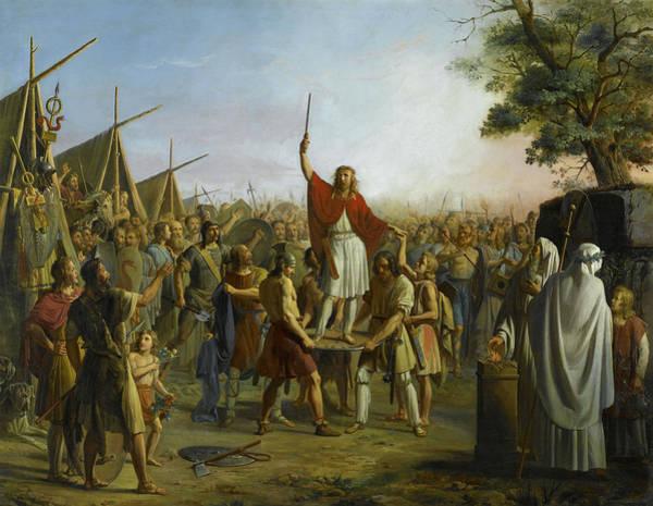 Wall Art - Painting - Pharamond Eleve Sur Le Pavois Par Les Guerriers Francs, 417 by Pierre Henri Revoil