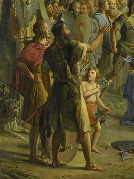Wall Art - Painting - Pharamond Eleve Sur Le Pavois Par Les Guerriers Francs, 417 by Pierre Revoil