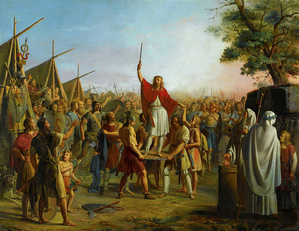 Wall Art - Painting - Pharamond Proclaimed King After Pillaging The City Of Trier, Carried On The Shield by Michel Philibert Genod