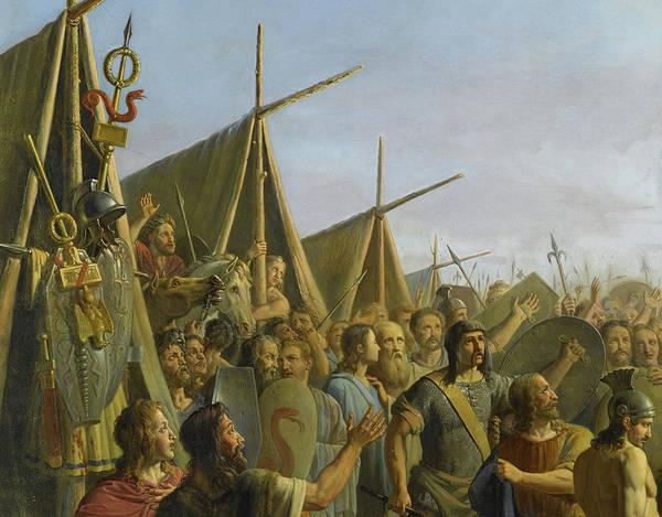 Wall Art - Painting - Pharamond Proclaimed King After Pillaging The City Of Trier In 417 by Michel Philibert Genod