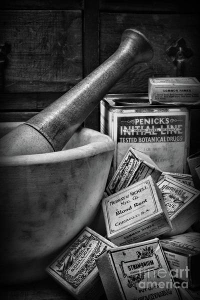 Wall Art - Photograph - Pharmacy-herbal Healing Black And White by Paul Ward