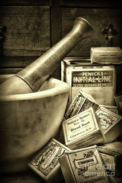 Wall Art - Photograph - Pharmacy-herbal Healing Sepia by Paul Ward
