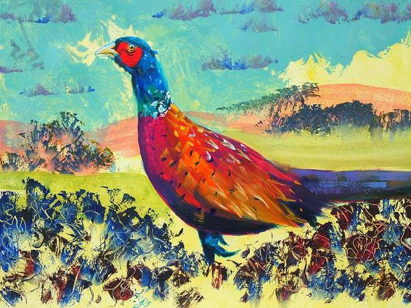 Painting - Pheasant Walking In English Countryside Landscape Painting by Mike Jory