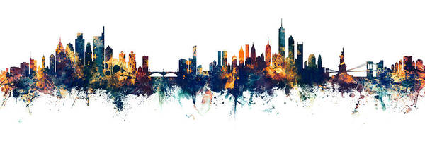 Wall Art - Digital Art - Philadelphia And New York City Skylines Mashup by Michael Tompsett