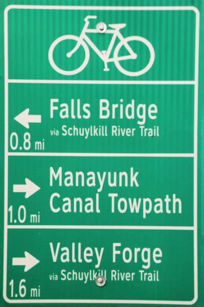 Photograph - Philadelphia - Bike Path Sign by Bill Cannon