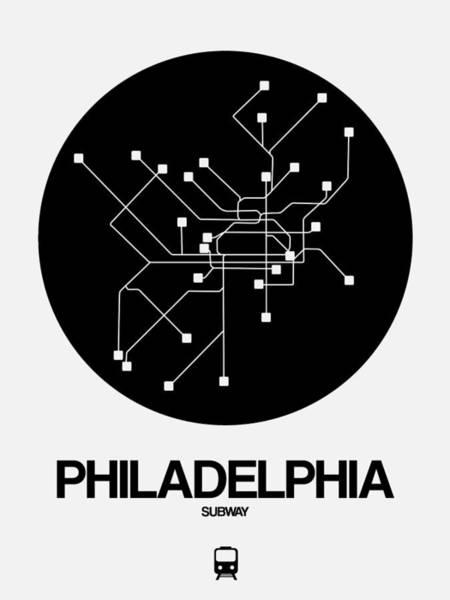 Subway Map Wall Art - Digital Art - Philadelphia Black Subway Map by Naxart Studio