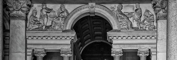 Photograph - Philadelphia City Hall Fresco In Black And White by Bill Cannon