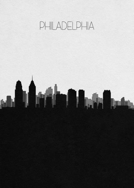 Philly Digital Art - Philadelphia Cityscape Art by Inspirowl Design