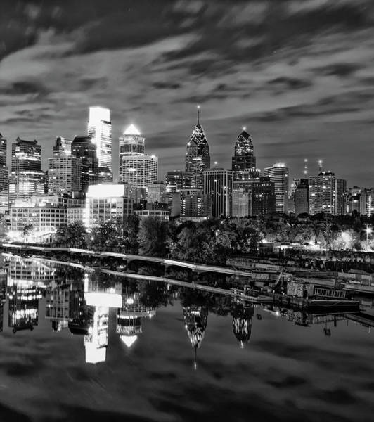 Wall Art - Photograph - Philadelphia Cityscape Reflection In Black And White by Bill Cannon