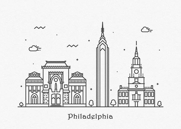 Wall Art - Drawing - Philadelphia Cityscape Travel Poster by Inspirowl Design