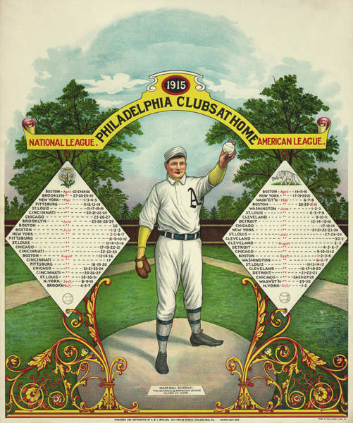 Wall Art - Painting - Philadelphia Clubs At Home Base-ball Schedule, 1915 by American School