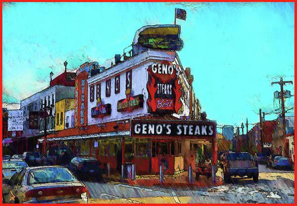 Wall Art - Digital Art - Philadelphia - Genos Steaks Best - Rendoring by Bill Cannon