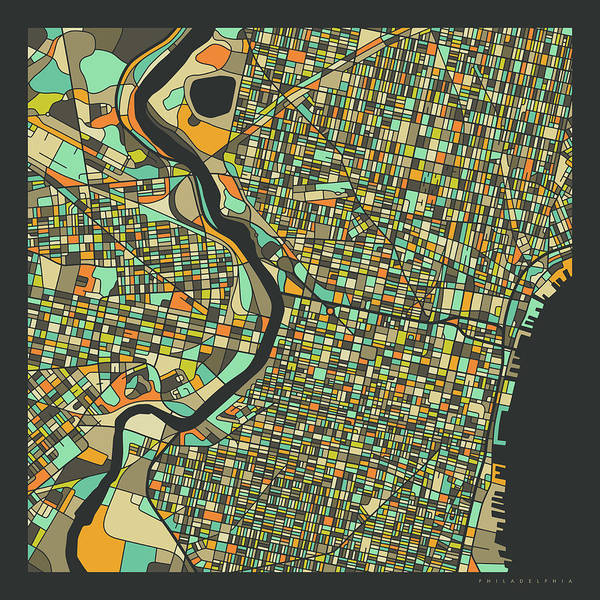 Philadelphia Map 2 Art Print