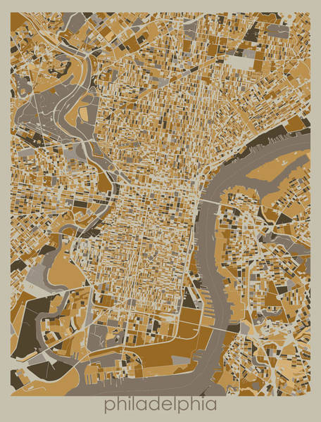 Wall Art - Digital Art - Philadelphia Map Retro 4 by Bekim M